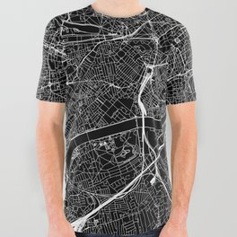 London Black Map All Over Graphic Tee
