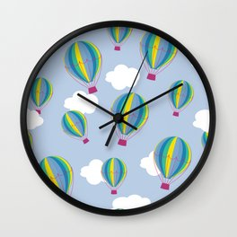Hot air balloons and clouds - ultra violet Wall Clock