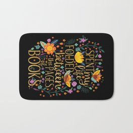 Folded Between the Pages of Books - Floral Black Bath Mat