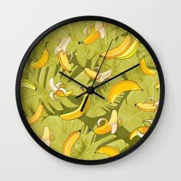 Banana & Leaves Pattern Wall Clock