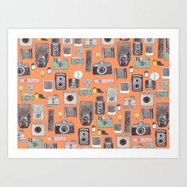 Vintage Camera Print Orange Art Print