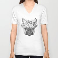 frenchie V-neck T-shirts featuring Frenchie by Victoria Novak
