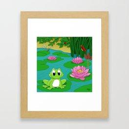 Grenouille et nénuphars Framed Art Print