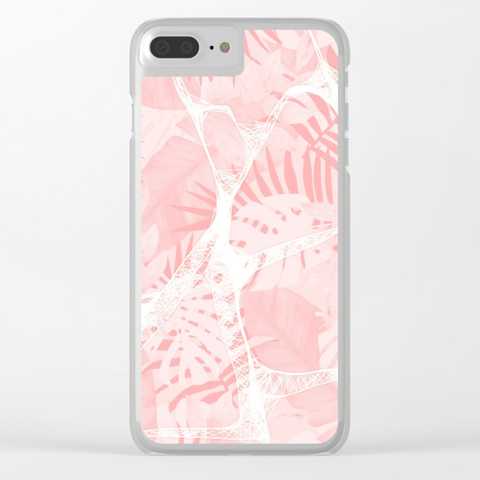 Abstract Soft Pink Tropical Design Clear iPhone Case
