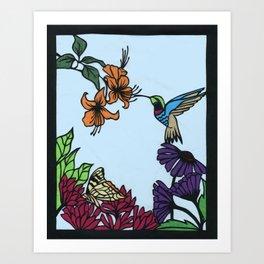Hummingbird Garden Paper-cut  Art Print