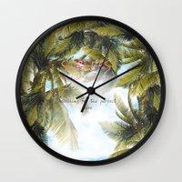 surf Wall Clocks featuring surf by ulas okuyucu