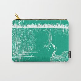 Oriental Exotic Heron & Boirds on a Lake Print - Emerald Green Carry-All Pouch