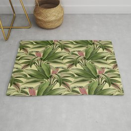 Cordyline Princess Margaret Watercolor Cream Pattern Rug