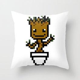 8-bit Dancing plant Throw Pillow