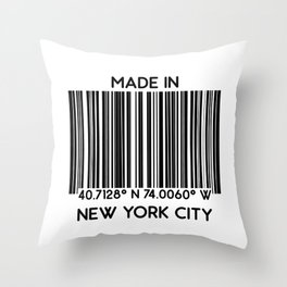 made in New York City NYC (barcode) Throw Pillow
