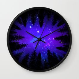 Magical Forest Galaxy Night Sky Wall Clock