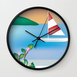 St. Croix, Virgin Islands- Skyline Illustration by Loose Petal Wall Clock