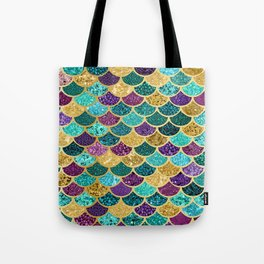 Glitter Blues, Purples, Greens, and Gold Mermaid Scales Tote Bag