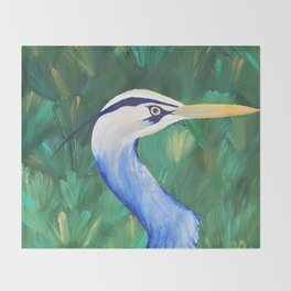 Heron in the Grass Throw Blanket