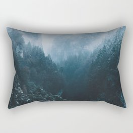 Foggy Forest Mountain Valley - Landscape Photography Rectangular Pillow