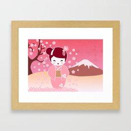 Sakura Japanese Doll Kokeshi Framed Art Print