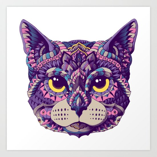 Cat Head (Color Version) Art Print
