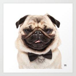Helmut the Pug - Bow Tie Art Print