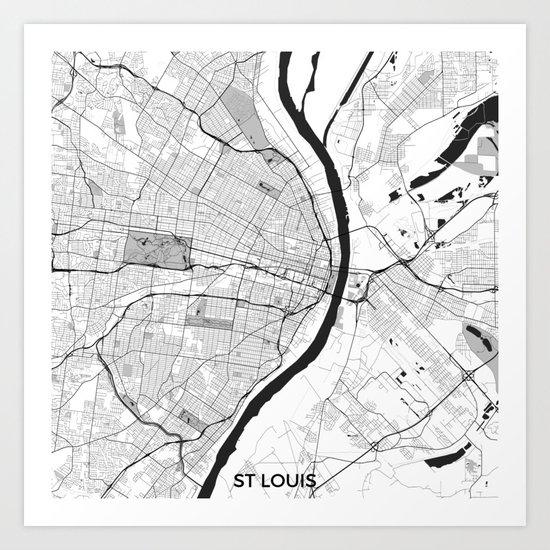 St. Louis Map Gray Art Print