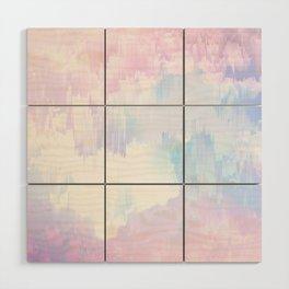 Sky Fall Dream Pastel Glitch - pink and blue Wood Wall Art