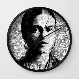 FRIDA KAHLO (BLACK & WHITE VERSION) Wall Clock