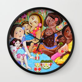 Picnic in our community garden Wall Clock
