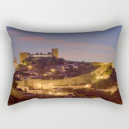 Obidos castle at dusk, Portugal Rectangular Pillow