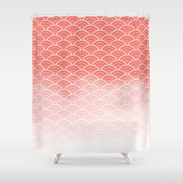 Coral Ombre Japanese Waves Pattern Pantone Living Shower Curtain