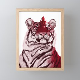 Fantasy Creature - Alien Red Tiger with Crystals and Rubies Framed Mini Art Print