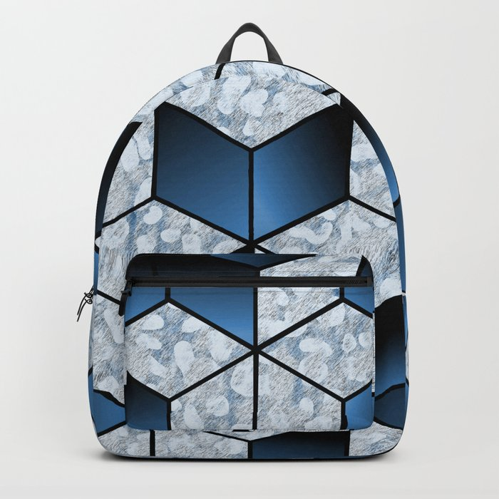 Abstract Blue Cubic Effect Design Backpack