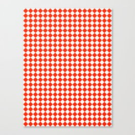 White and Scarlet Red Diamonds Canvas Print