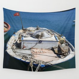 Moored Fishing Boat Wall Tapestry