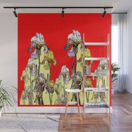 MODERN RED ART  LILAC-YELLOW IRIS GARDEN Wall Mural