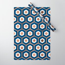Hexagon Honeycomb Pattern – Denim & Rose Gold Palette Wrapping Paper