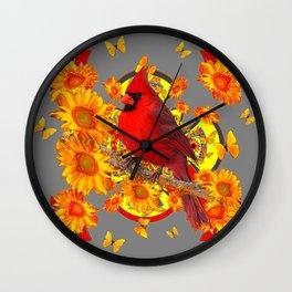 BUTTERFLIES  RED CARDINAL YELLOW SUNFLOWERS Wall Clock