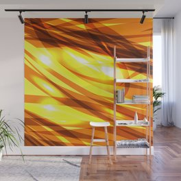 Saturated gold and smooth sparkling lines of metal ribbons on the theme of space and abstraction. Wall Mural