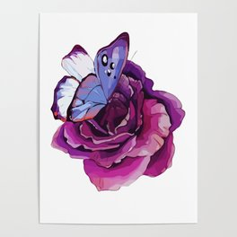 Rose and Butterfly Poster