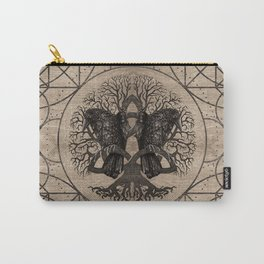 Tree of life - with ravens wooden texture Carry-All Pouch