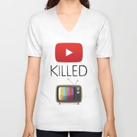 youtube V-neck T-shirts featuring YouTube Killed the TV by LifeQuotes