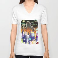 godzilla V-neck T-shirts featuring Godzilla by David Pavon