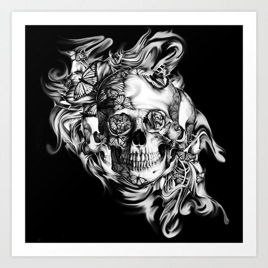 Butterfly smoke skull on black base.  Art Print