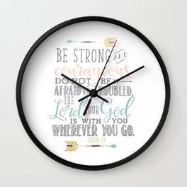 Joshua 1:9 Bible Verse Wall Clock