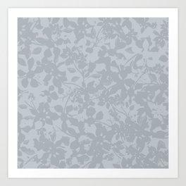 Broken but Flourishing Floral Pattern - Grey Art Print
