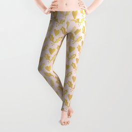 Luxe Rose Gold Foil Christmas Holly Berries Heart Pattern, Seamless Leggings