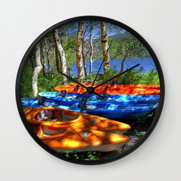 California USA June Lake Nature Trunk tree Boats Wall Clock