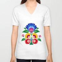 folk V-neck T-shirts featuring folk flower by bachullus
