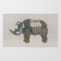 rhino Area & Throw Rugs featuring Rhino by farah allegue