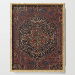 Boho Chic Dark IV // 17th Century Colorful Medallion Red Blue Green Brown Ornate Accent Rug Pattern Serving Tray