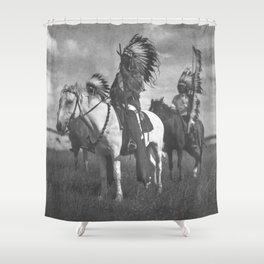 Sioux Native American First Nation Chiefs on the plains black and white photograph  Shower Curtain