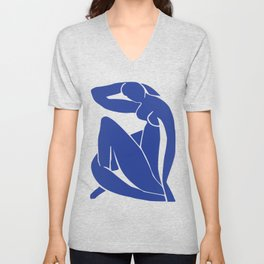 Matisse blue woman print, abstract woman print, matisse wall art, Abstract Modern Print, Unisex V-Neck